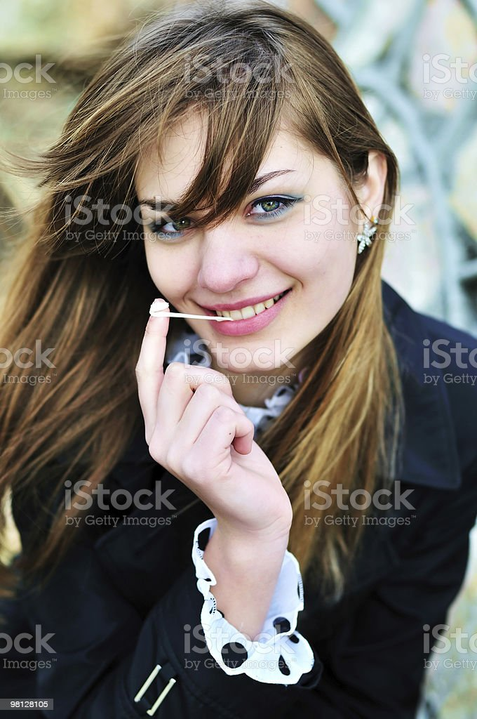 girl and chewing gum royalty-free stock photo