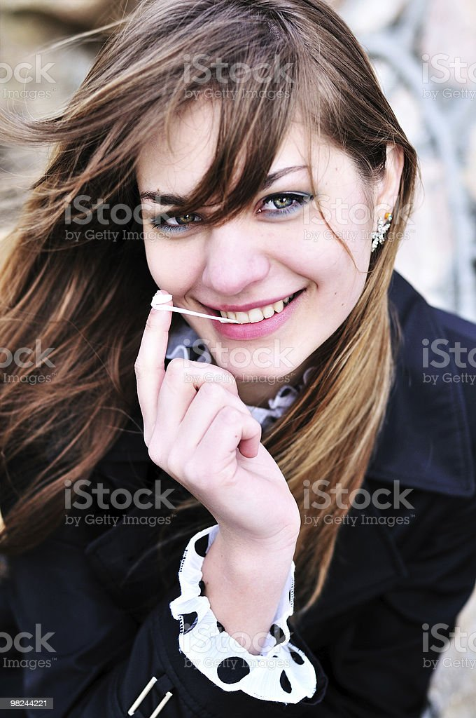 Ragazza e Bubble gum foto stock royalty-free
