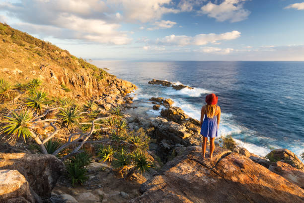 Girl and Coastal View stock photo