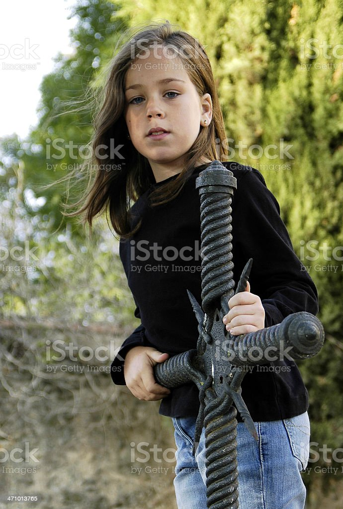 Girl and cross 2 royalty-free stock photo