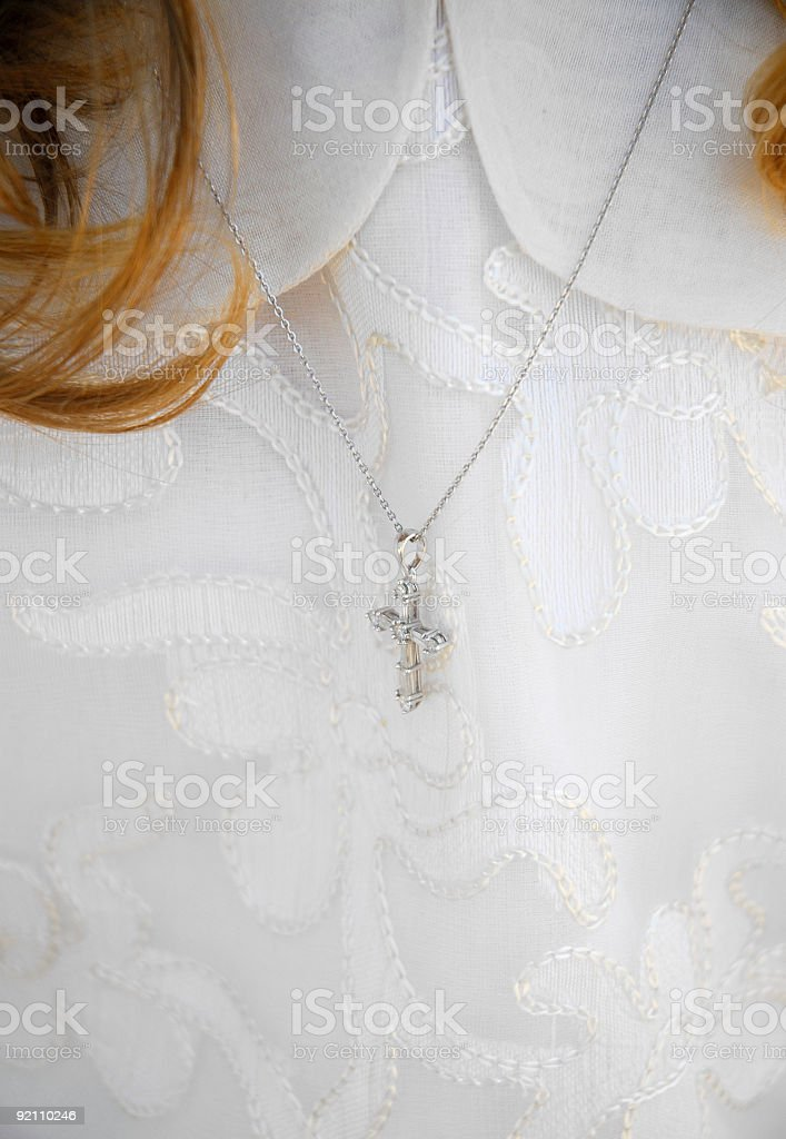 girl and crucifix royalty-free stock photo