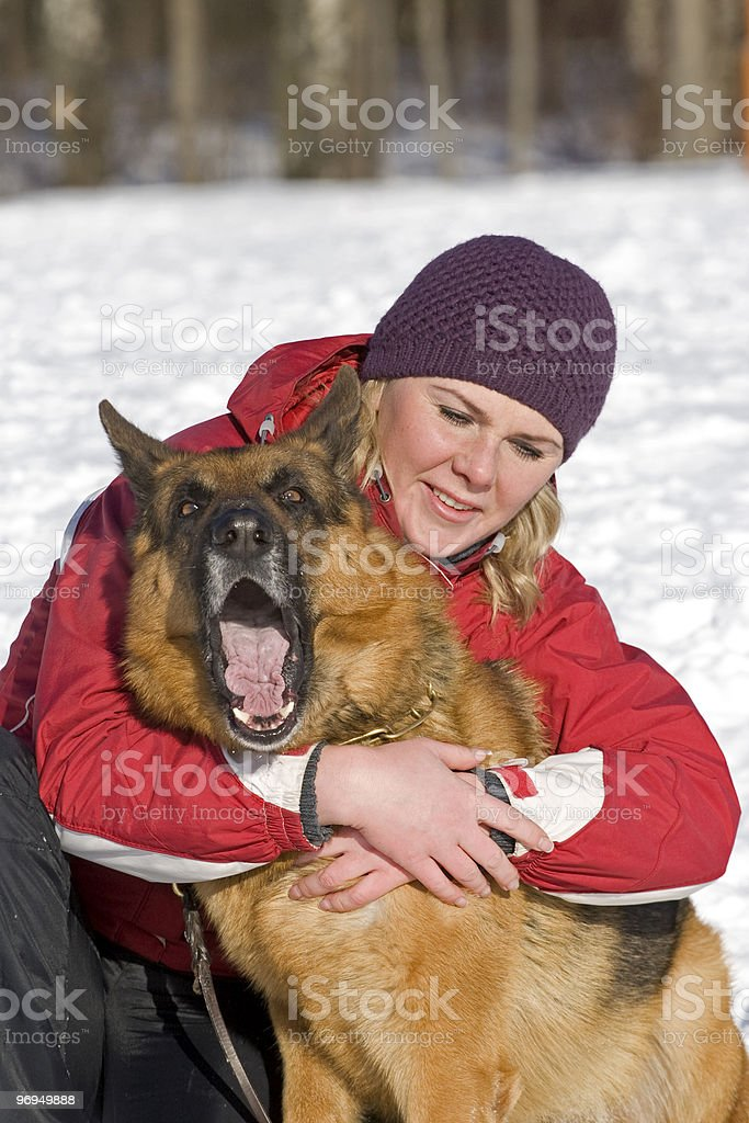 Girl and dog royalty-free stock photo