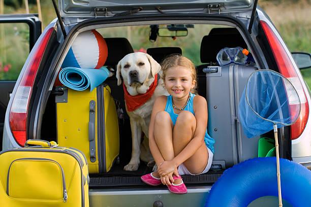 fille et chien prêt pour les vacances d'été - canidés photos et images de collection