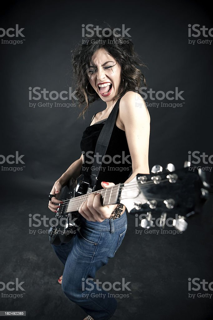 Girl and Electric Guitar royalty-free stock photo