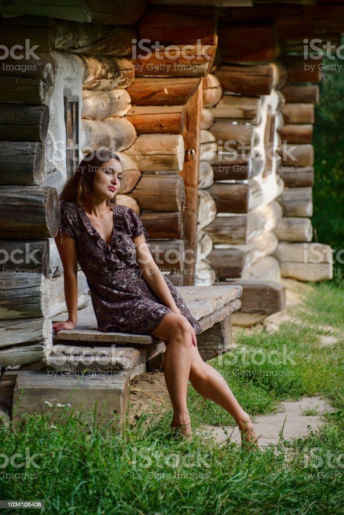 Girl and ethnic house stock photo