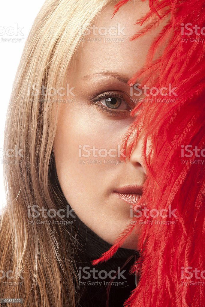 Girl and feather, isolated royalty-free stock photo