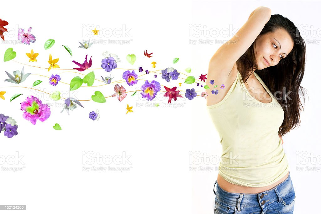 Girl and flower smell royalty-free stock photo