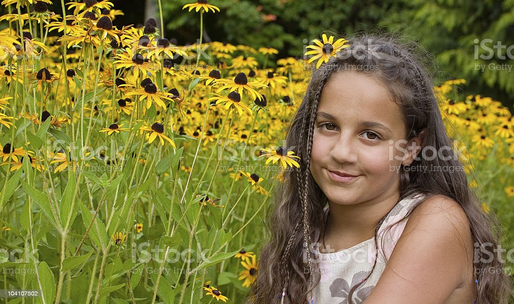 Girl and flowers royalty-free stock photo