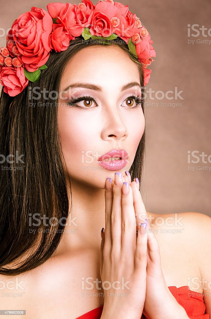 Girl and flowers stock photo