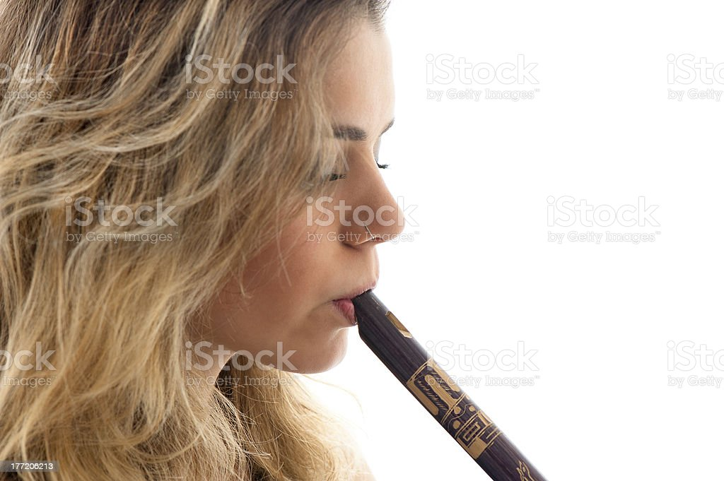 Girl and Flute royalty-free stock photo