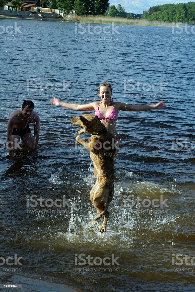 Girl and gay plays with dog in water royalty-free stock photo
