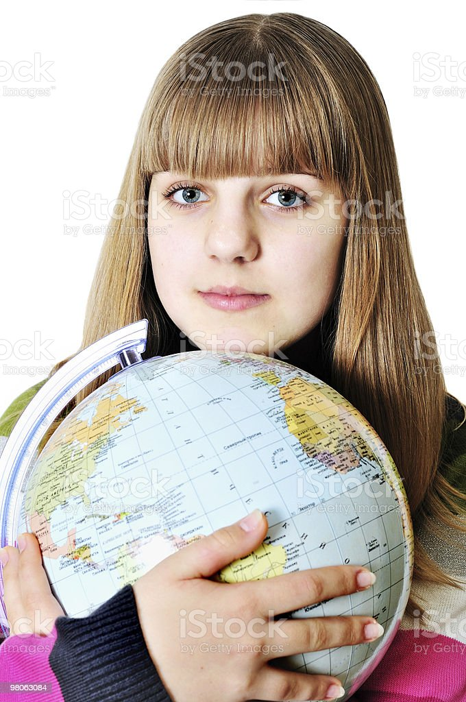 girl and globe of the world royalty-free stock photo