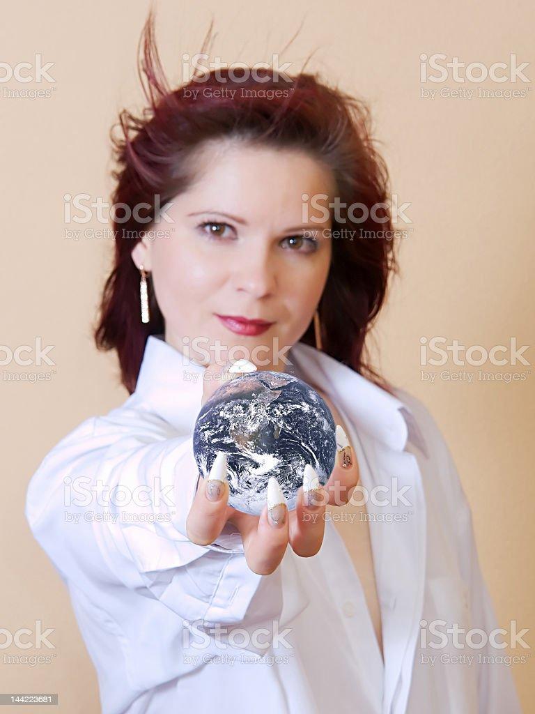 Girl and globe royalty-free stock photo