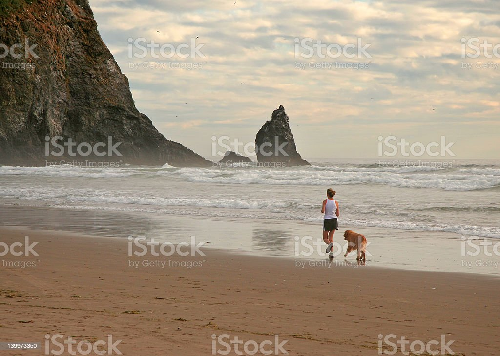 Girl and her dog royalty-free stock photo