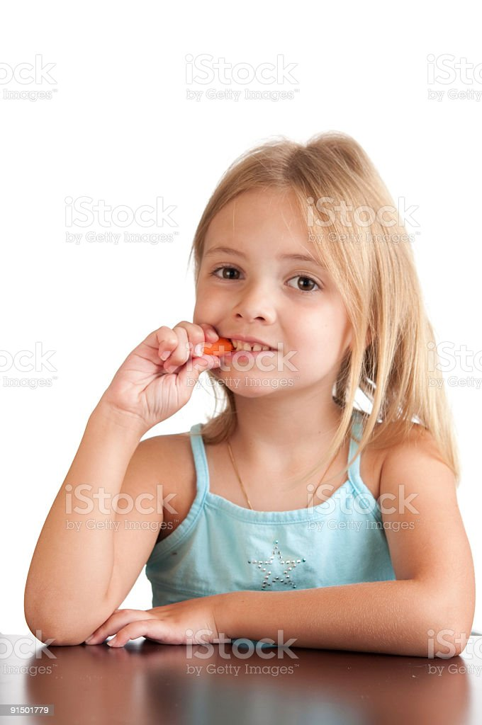 Girl and her healthy snack. royalty-free stock photo