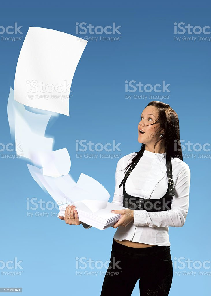 Girl and her papers royalty-free stock photo