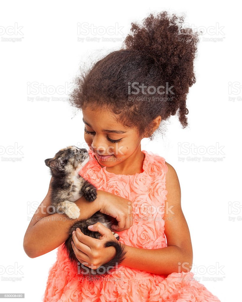 Girl and Kitten Looking at Each Other stock photo