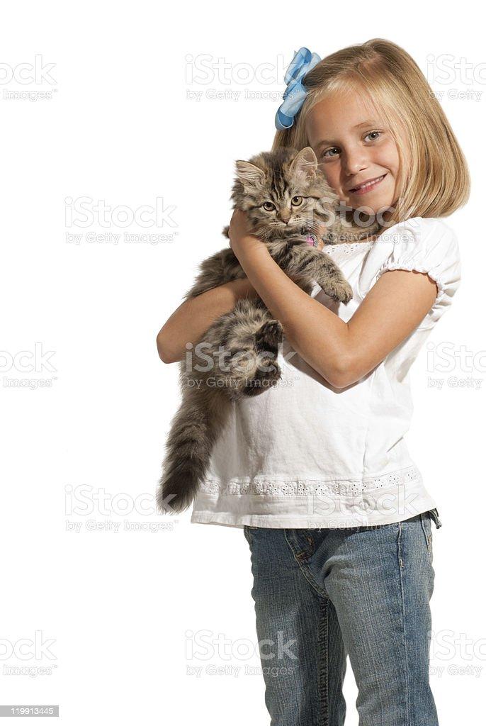 Girl and Kitten  Animal Stock Photo