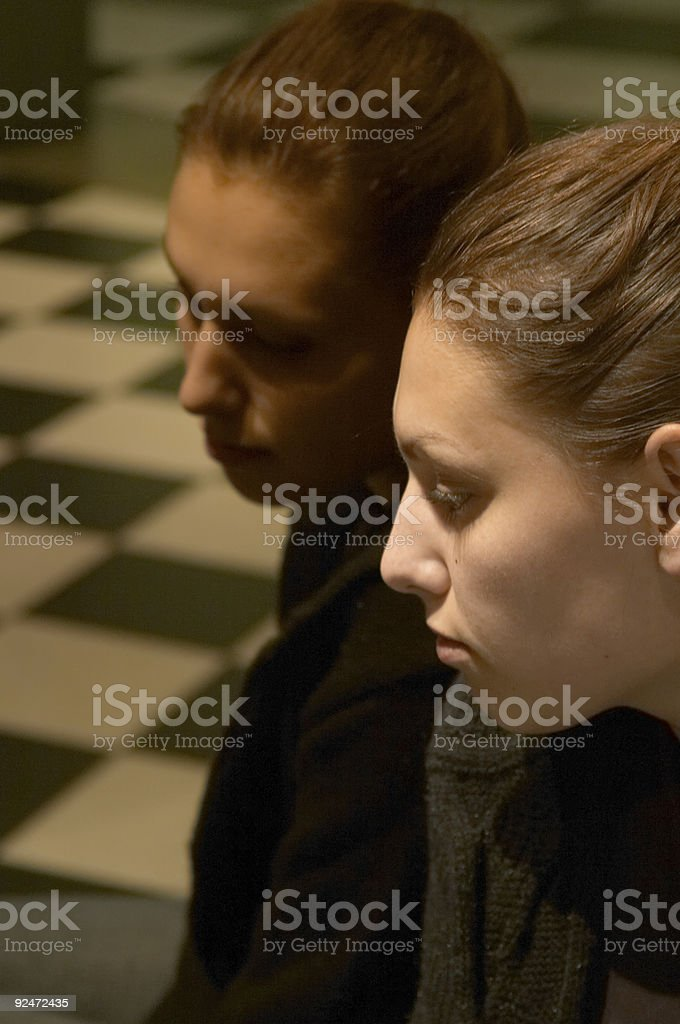 Girl and mirror. royalty-free stock photo