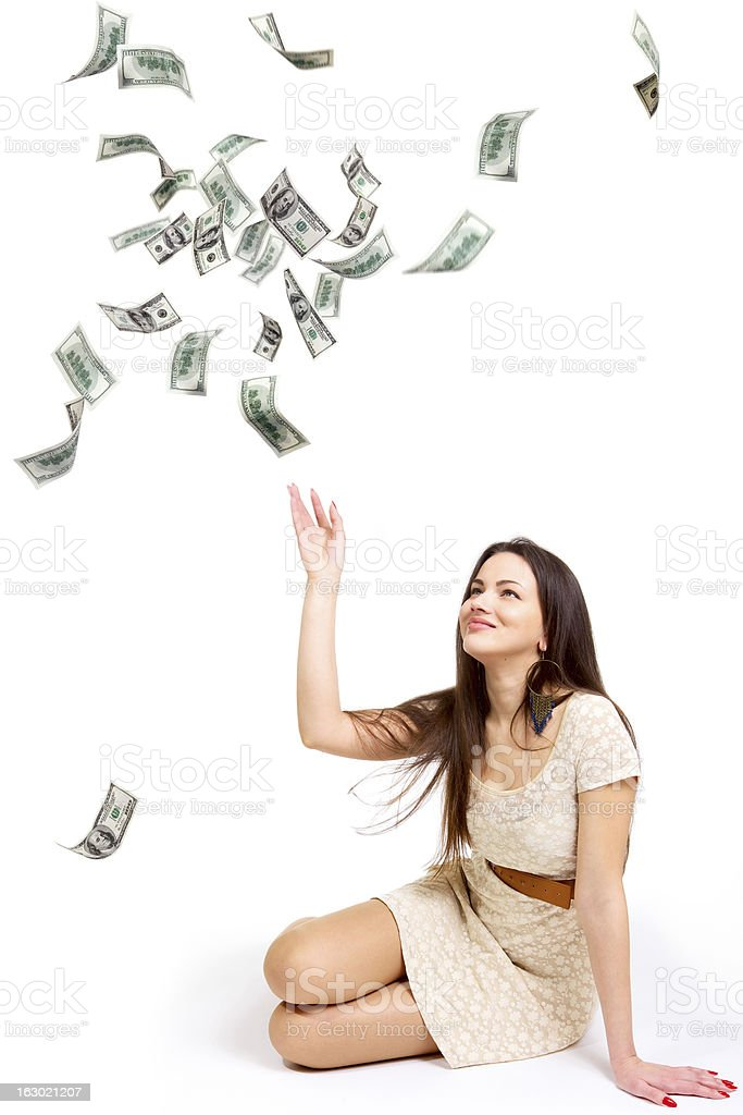 Girl and money royalty-free stock photo