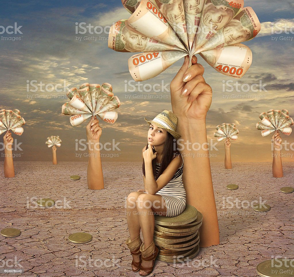 Girl and money stock photo
