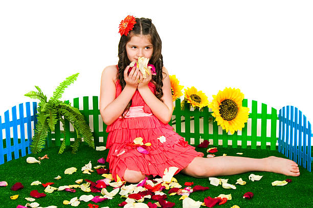 Girl and petals stock photo
