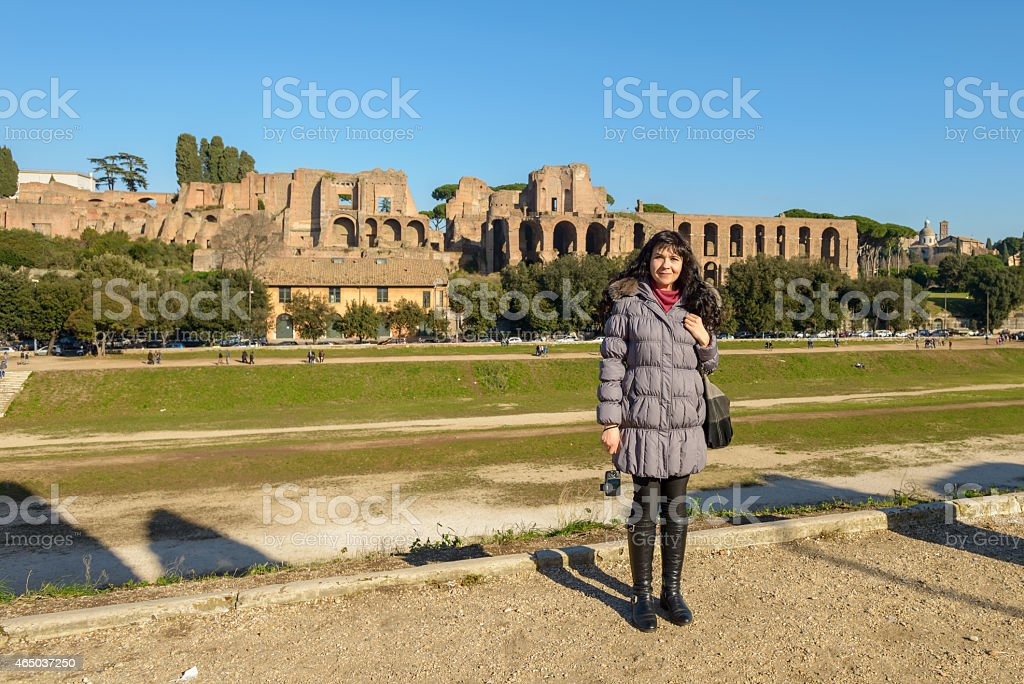 girl and ruins stock photo