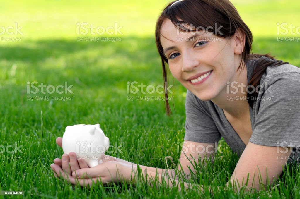 Girl and savings royalty-free stock photo