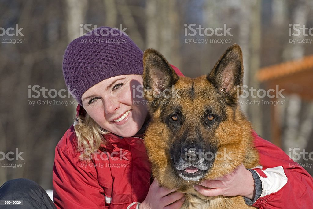 Girl and shepherd royalty-free stock photo
