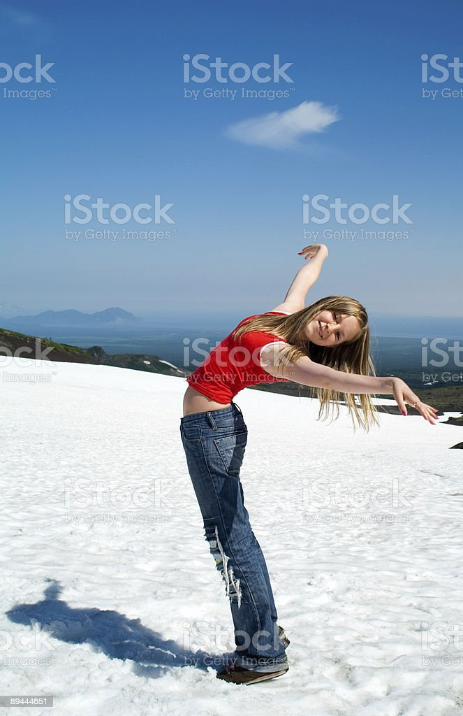girl and snow royalty-free stock photo
