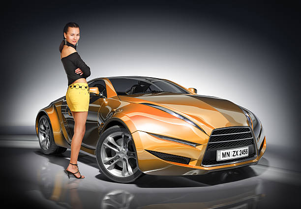Girl and sports car stock photo