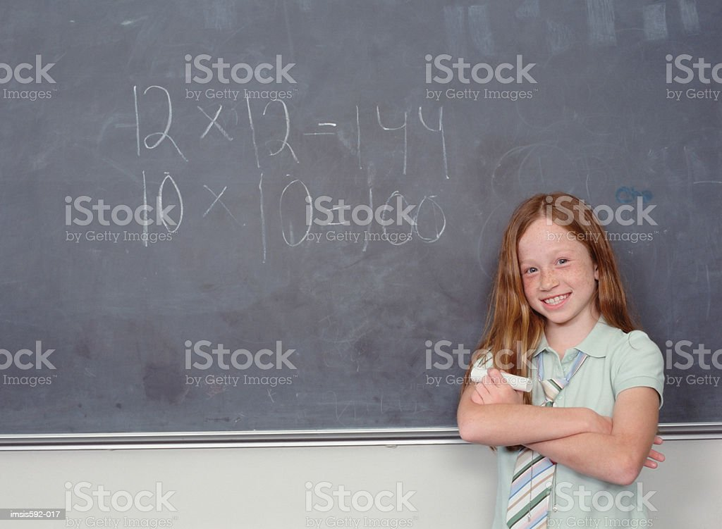 Girl and sum on blackboard 免版稅 stock photo