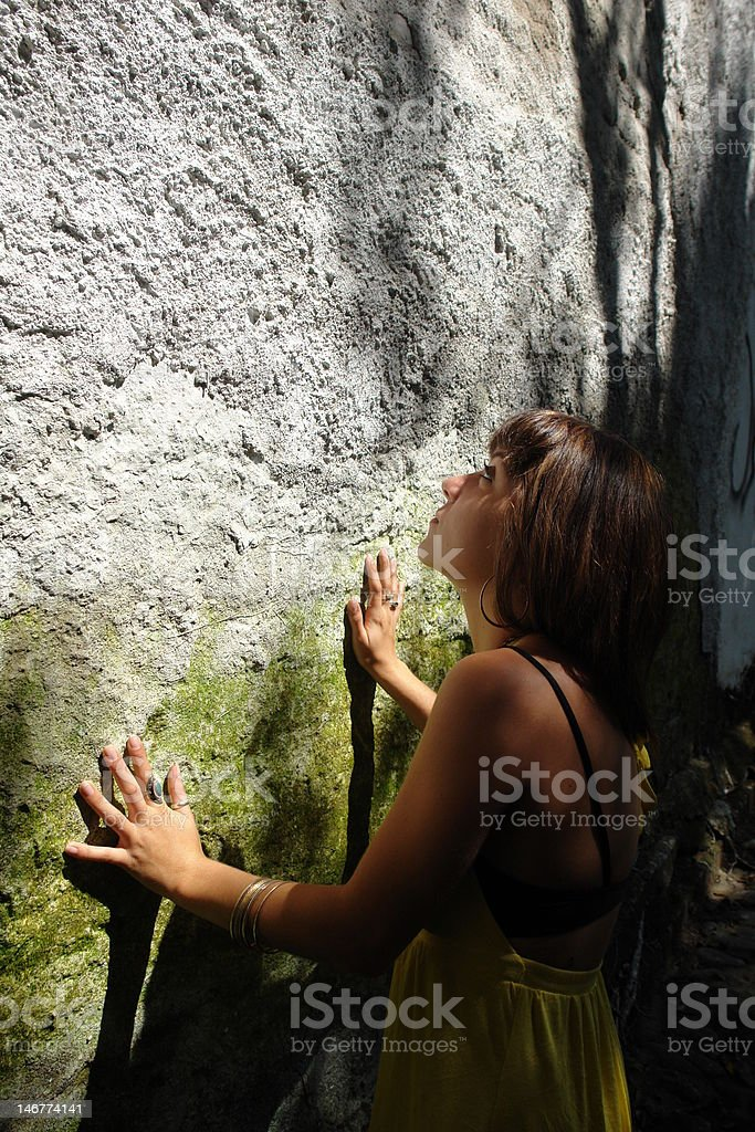girl and the grunge wall royalty-free stock photo