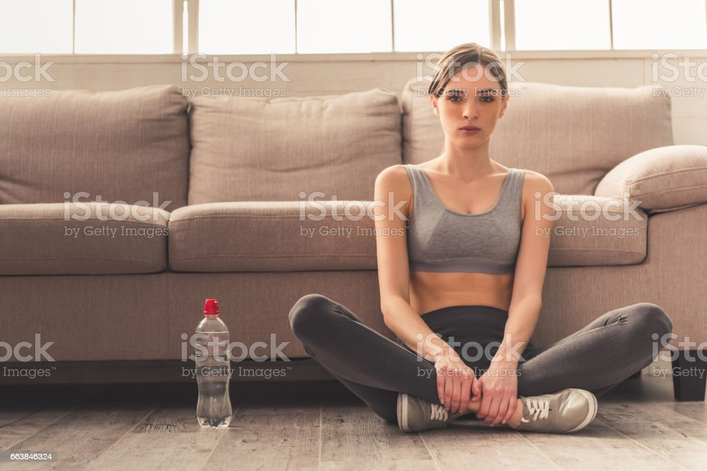 Girl and weight loss stock photo