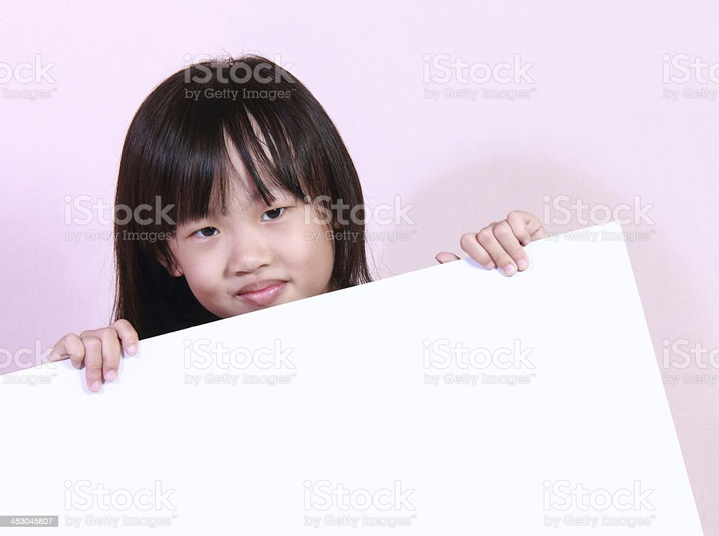 Girl and white board royalty-free stock photo