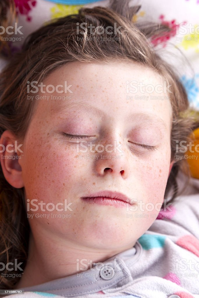Girl Asleep In Her Onesies royalty-free stock photo