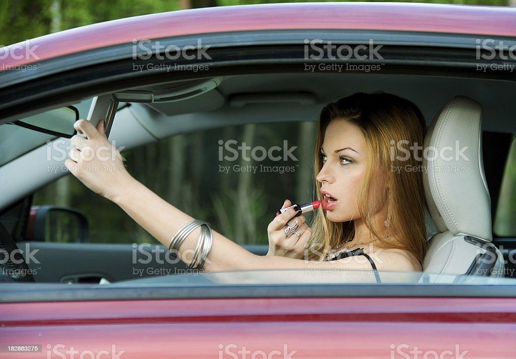 Girl at car royalty-free stock photo