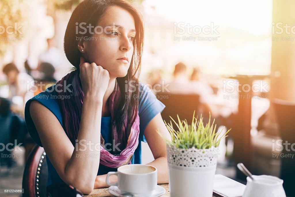 Girl at coffee break stock photo