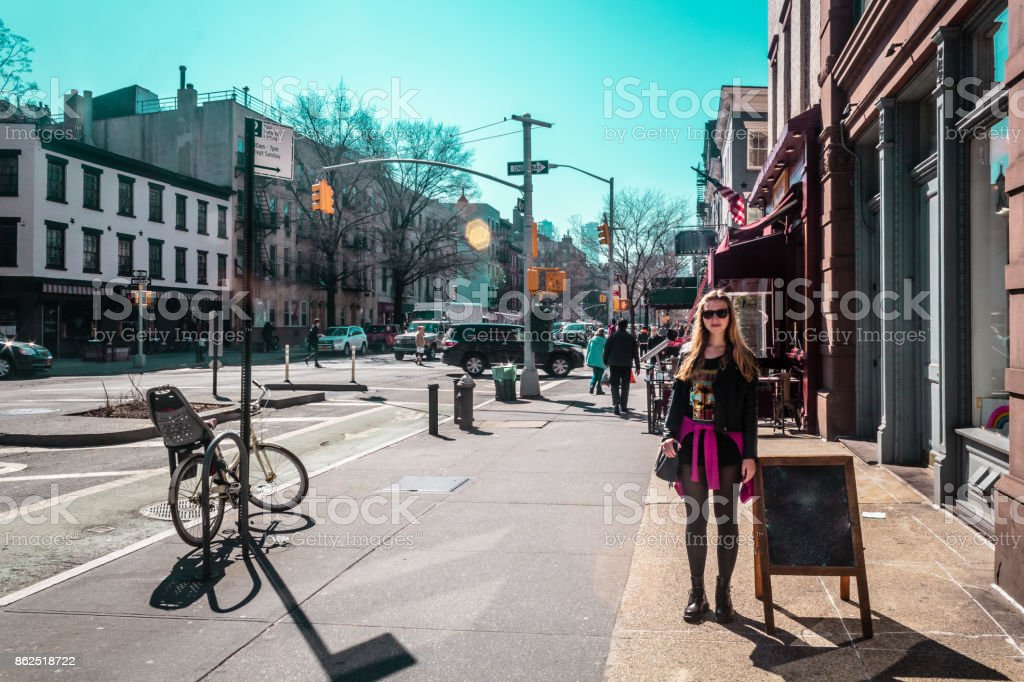 Girl at Greenwich Village in Manhattan, New York City stock photo