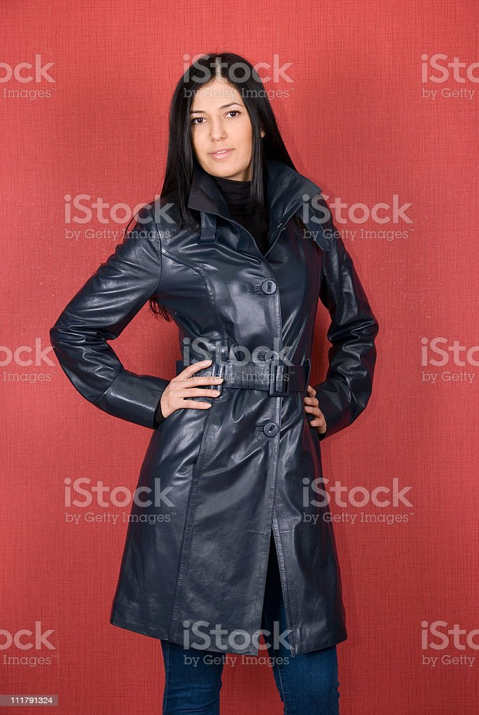 girl at jacket stock photo