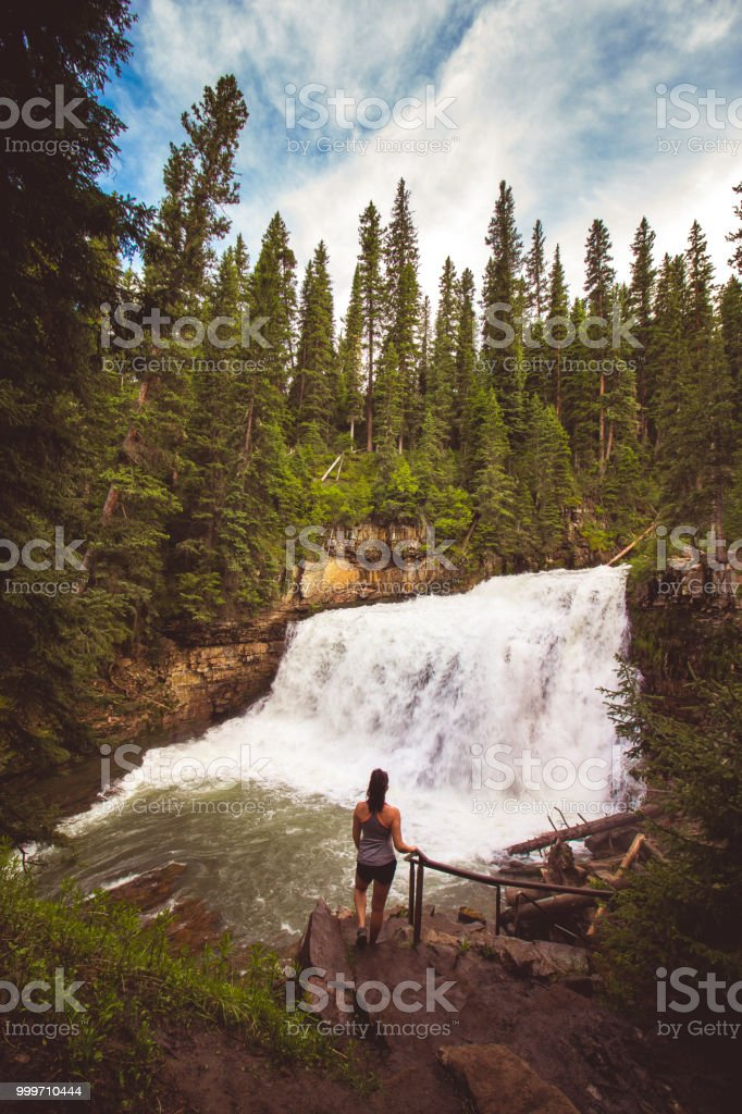 Girl at Ousel Falls stock photo