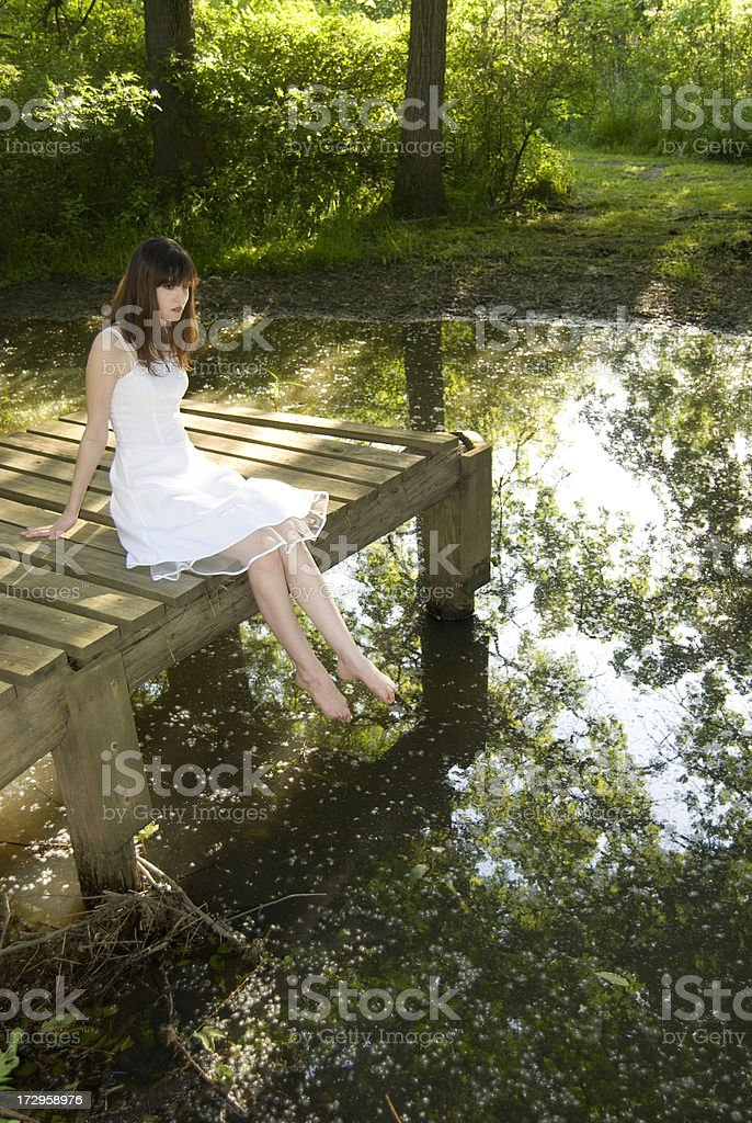 Girl at Pond royalty-free stock photo