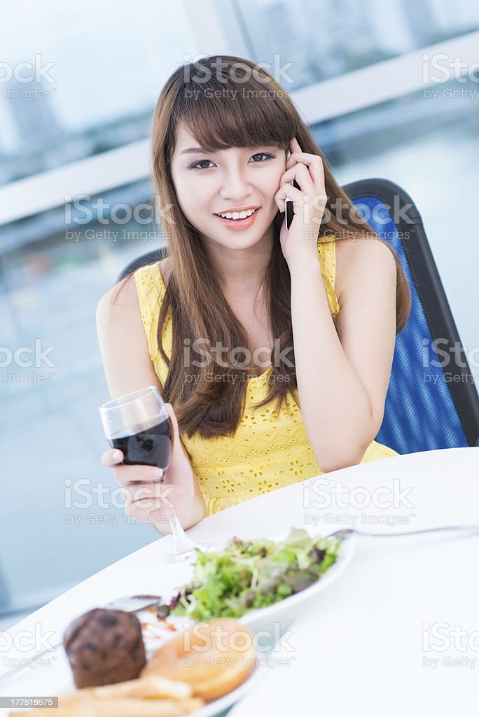 Girl at restaurant royalty-free stock photo