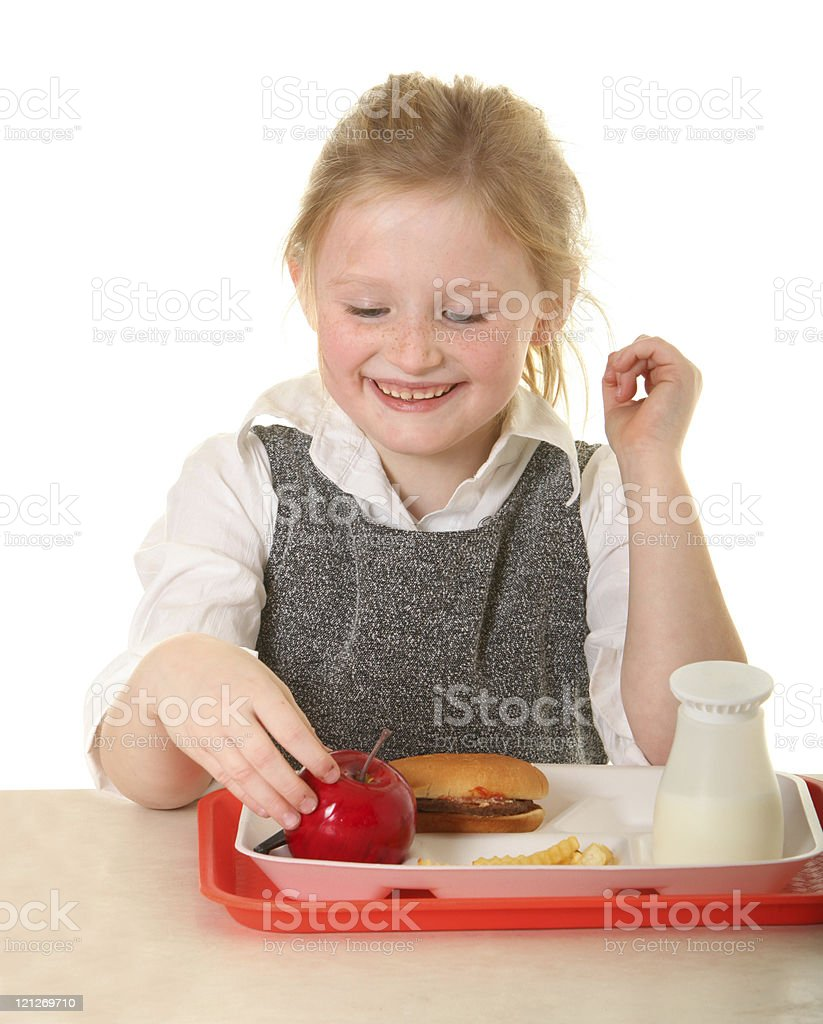 girl at school lunch table royalty-free stock photo