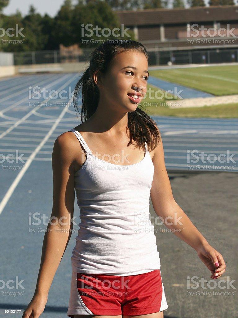 Girl at school stadium royalty-free stock photo