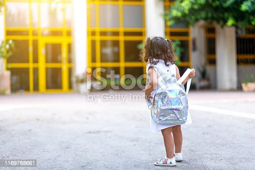 1045032684 istock photo Girl At School Yard On First Day In September. 1169788661