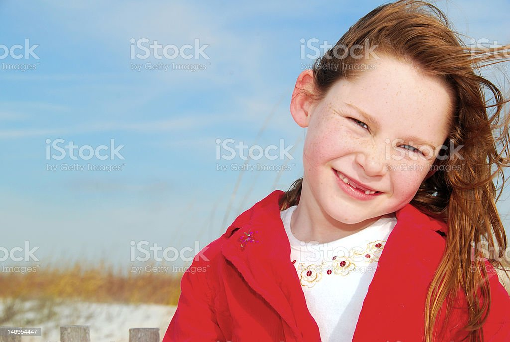 Girl at seashore royalty-free stock photo