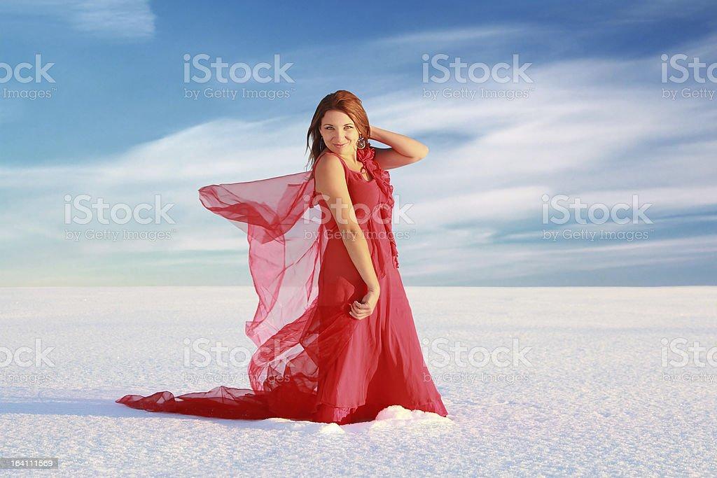 Girl at snow desert royalty-free stock photo
