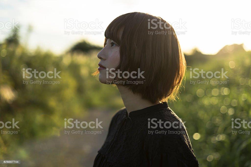 Girl の夕暮れ ストックフォト