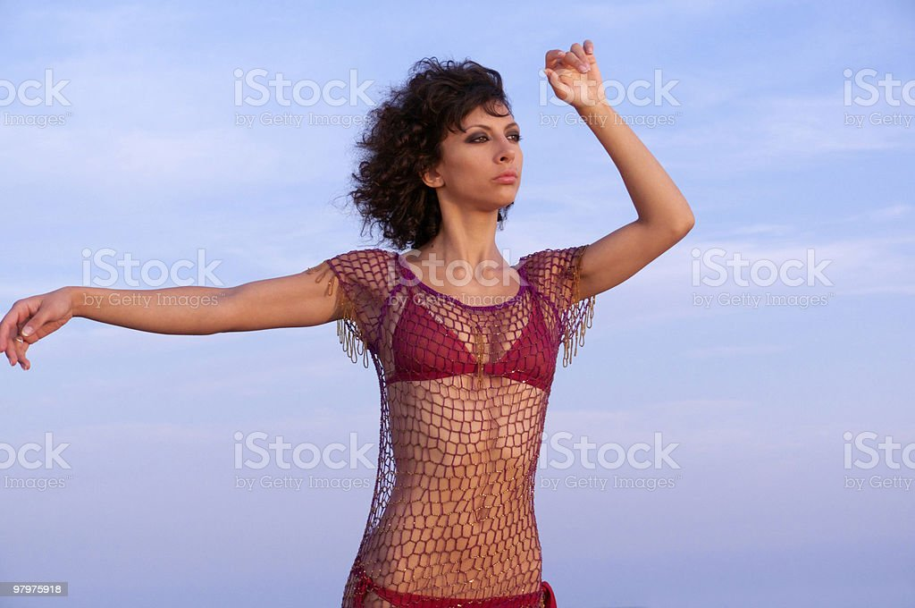 Girl at sunset royalty-free stock photo